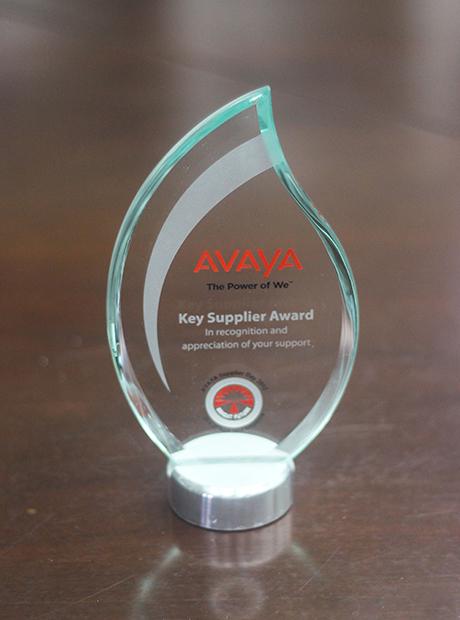 """2012年被AVAYA评为""""主要供应商奖"""""""