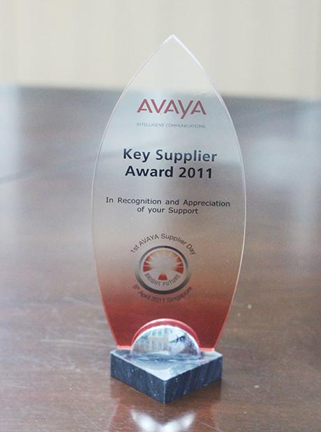 """2011年度被AVAYA评为""""主要供应商奖"""""""